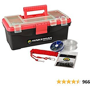 Fishing Single Tray Tackle Box- 55 Piece Tackle Gear Kit Includes Sinkers, Hooks Lures Bobbers Swivels and Fishing Line By Wakeman Outdoors Red