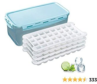 Silicone Ice Cube Bin and Ice Cube Trays Storage Container Set With Airtight Locking Lid, 4 Packs / 128 Trapezoid Ice Cubes
