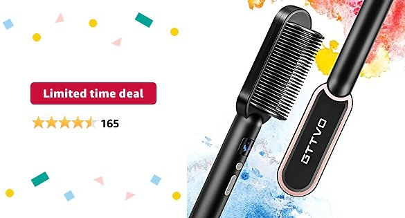 Limited-time Deal: GTTVO Hair Straightener Brush, Ionic Straightening Brush with Anti Scald, Fast Ceramic Heating and Temperature Lock , 2 in 1 Portable Hot Straightening Comb Professional Salon At Home Travel
