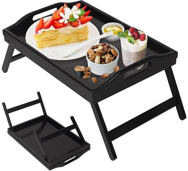 Bed Tray Table Folding Legs with Handles Breakfast Food Tray for Sofa