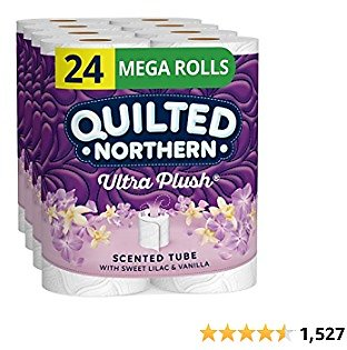Quilted Northern Ultra Plush Toilet Paper with Sweet Lilac & Vanilla Scented Tube, 24 Mega Rolls, 3-Ply Bath Tissue