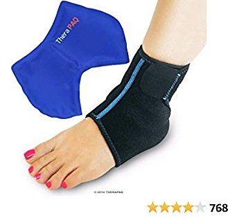 Foot & Ankle Ice Wrap with Hot & Cold Gel Pack By TheraPAQ   Adjustable Brace, Multi-Purpose, Microwaveable, Freezable and Reusable (XS-XL)
