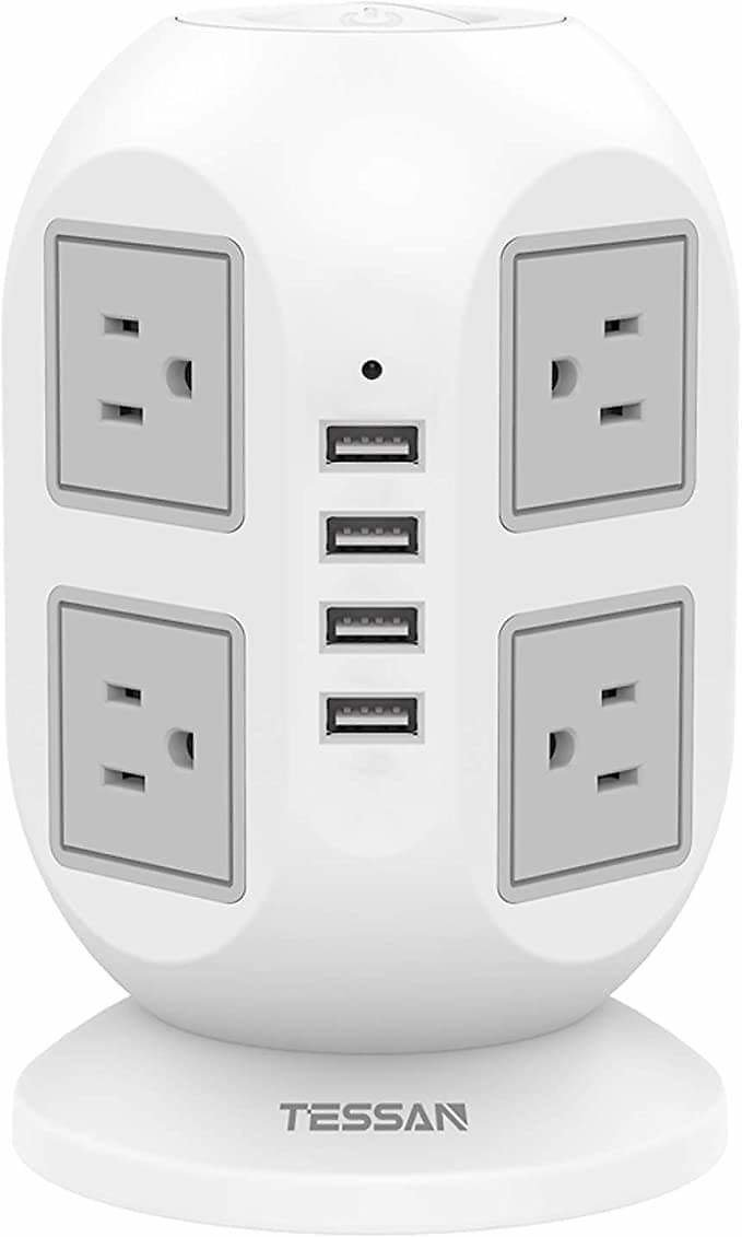 Power Strip Tower TESSAN Surge Protector 8 AC Outlets with 4 USB Ports Charging Station Long Extension Cord 10 Feet, Widely Spac