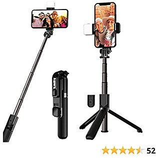Selfie Stick Tripod with Fill Light Wireless Bluetooth Detachable Remote, Extendable to 32 Inches, 360°Rotation, Compatible with IPhone 12, 11, XR, X, 8, 7, Pro, Max, Plus, SE and Android Smartphone