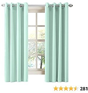 LA PALMA Thermal Insulated Blackout Darkening Grommet Living Room Curtains Window Drapes for Bedroom 2 Panels in 1 Set 52 Inches Wide (Aqua, W52 XL63)