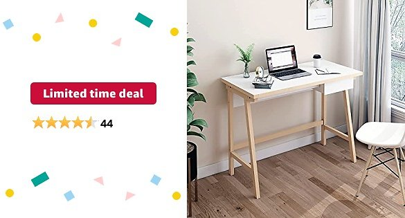 Limited-time Deal: FRSTONE Pine Wooden Home Office Desk White Oak 39.3 X 29.5 Inch Computer Desk with Storage Drawer for Studing, Writing, Simple Style Study Table, Console Laptop Table, White Desktop