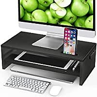 2-Tier Monitor Stand Riser with Cellphone Holder & Storage Space for $9.99