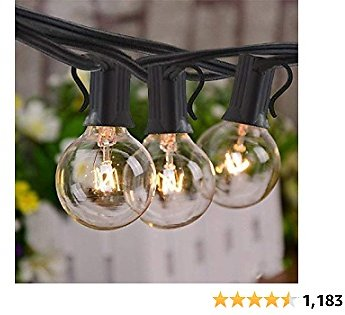 Yuusei Outdoor String Lights, 25Ft G40 Globe String Light with 15 Pcs 5W Clear Bulbs (3 Spare), 2200K Warm White Connectable Hanging Patio Lights IP44 Waterproof Backyard Lights with E12 Socket
