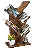 4-Tier Tree Style Rustic Brown Wooden Bookshelf for $35.99