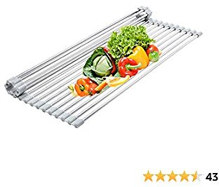 Over The Sink Kitchen Multipurpose Dish Drying Rack, Roll-Up Stainless Steel Dish Drainer 【Grey 20.5