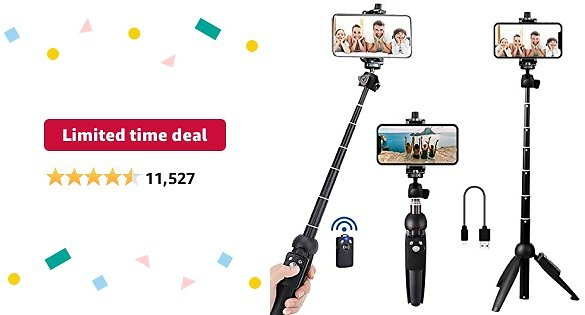 Limited-time Deal: Portable 40 Inch Aluminum Alloy Selfie Stick Phone Tripod with Wireless Remote Shutter Compatible with IPhone 12 11 Pro Xs Max Xr X 8 7 6 Plus, Android Samsung Smartphone
