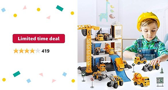 Limited-time Deal: TEMI Construction Vehicles Toy Set, 60PCS Kids Engineering Trucks Vehicle w/ Tractor, Digger, Crane, Dump, Excavator, Cement, Steamroller, Map, Birthday Gift for 3 4 5 Year Old Boys Children Toddlers