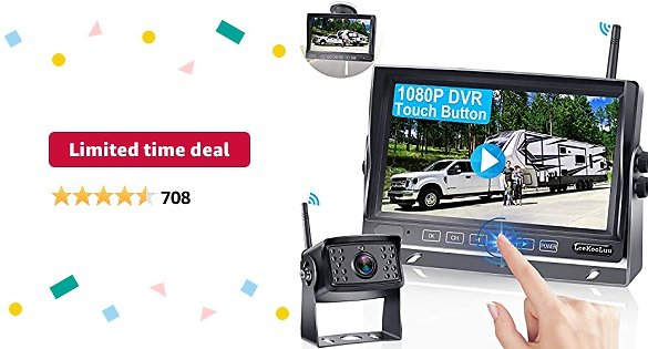 Limited-time Deal: RV Backup Camera Wireless with Monitor for RVs,Trailers,Trucks,5th Wheels,HD 1080P with 7 Inch Screen Rear View High-Speed Observation DVR System,High Refresh Rate No Signal Delay LeeKooLuu-LK5