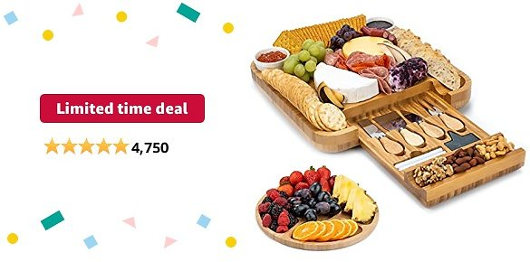 Limited-time Deal: SMIRLY Cheese Board and Knife Set: 13 X 13 X 2 Inch Wood Charcuterie Platter for Wine, Cheese, Meat