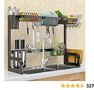 Over The Sink Dish Drying Rack, Adjustable Stainless Steel Large Dish Rack for Kitchen Counter Over Sink Shelf Dish Rack with Utensil Holder