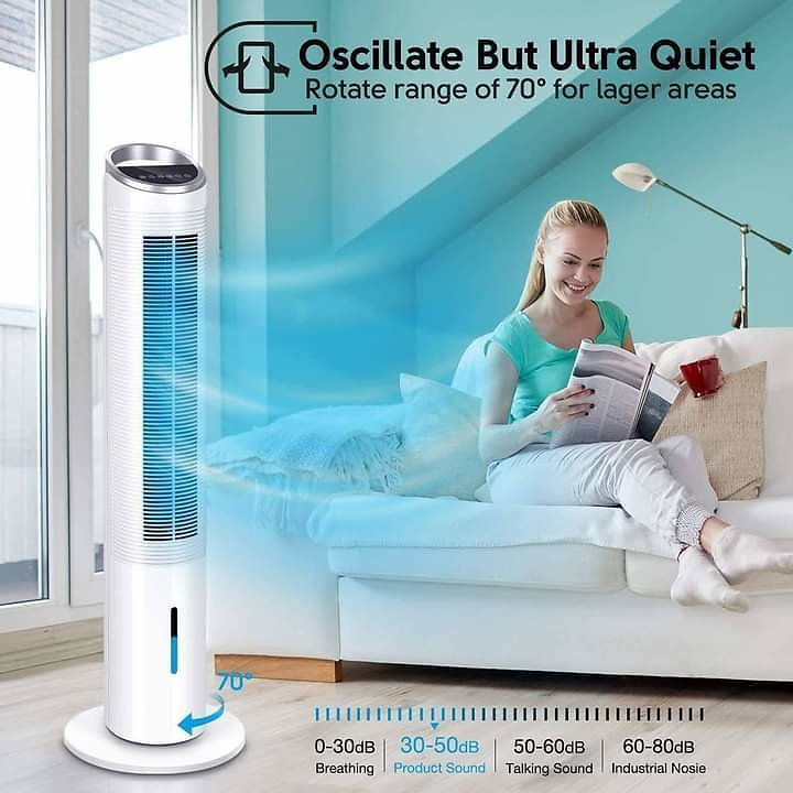 Evaporative Cooler – 40 Inch Portable Oscillating Tower Fan for Big Space, 3 Speeds & 3 Wind Types 70°Oscillating Fan W/2 Freezi