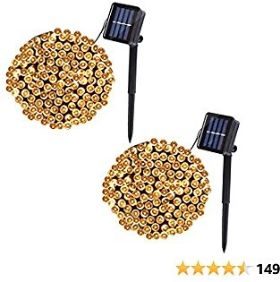 2 Pack Solar String Lights Outdoor ,39.4FT 100 LED Outdoor Solar Christmas Lights,8 Lighting Modes Solar Fairy Lights for Indoor/Outdoor Garden, Patio, Backyard, Xmas, Wedding Party Decor (Warm White)