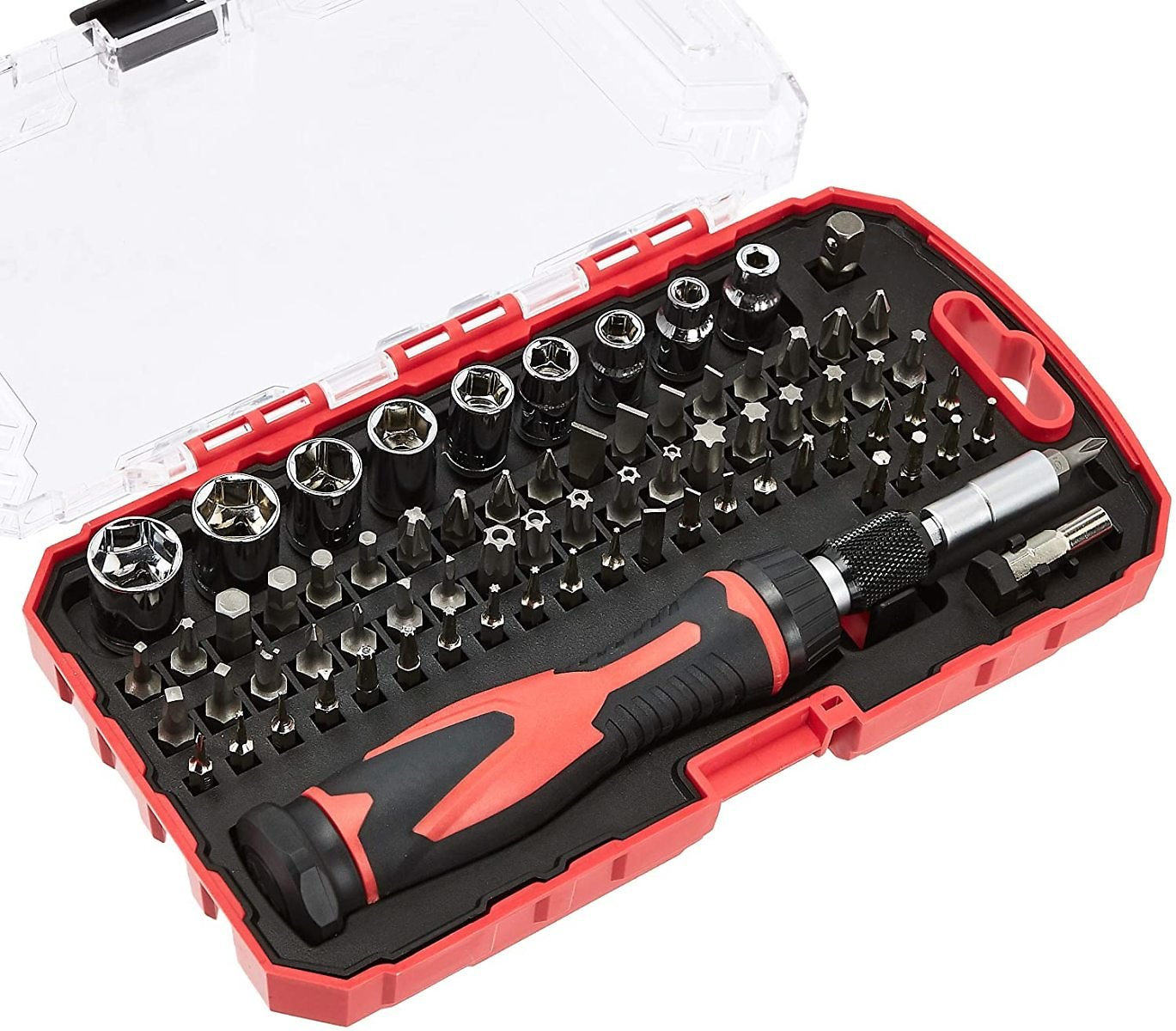 Amazon Basics 73-Piece Magnetic Ratchet Wrench and Screwdriver Set for $12.77