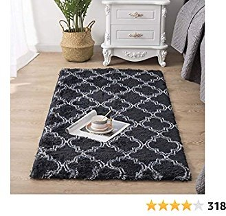 Carvapet Super Soft Moroccan Area Rugs for Bedroom Living Room Shaggy Modern Fluffy Carpet for Nursery Baby Rooms Kids Rooms Pattern Silky Smooth Mat 2.3' X 5', Black and White