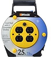 Woods Extension Cord Reel with 4-Outlets 16/3 SJTW & 12A Circuit Breaker for $16.97
