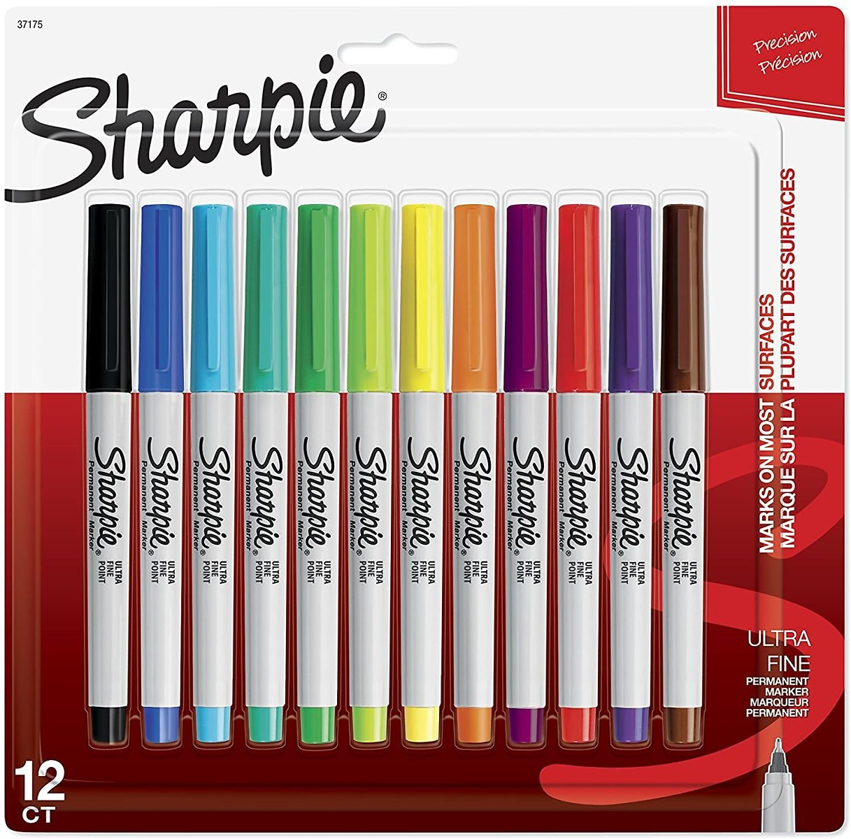 Sharpie 37175 Permanent Markers, Ultra-Fine Point, Assorted Colors, 12 Pack