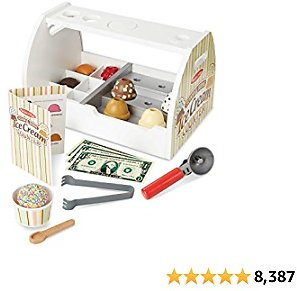 Melissa & Doug Wooden Scoop and Serve Ice Cream Counter (28 Pcs) - Play Food and Accessories,s.