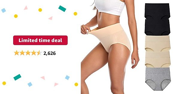 Limited-time Deal: Women's Underwear, High Waist Cotton Breathable Full Coverage Panties Brief Multipack Regular and Plus Size