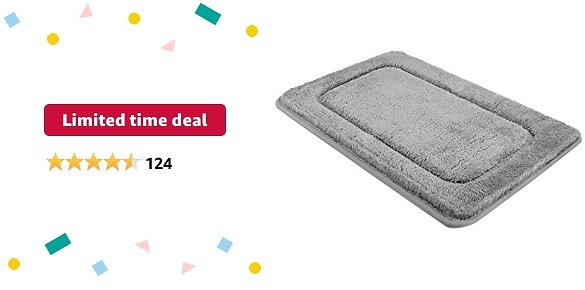 Limited-time Deal: SMARTAKE Bathroom Rug Mat, 20 X 32 Inches, Non-Slip Bath Floor Mat, Thick Bathroom Rugs, Water Absorbent Ultra Soft Shower Carpet Rug, Machine Washable, for Bathroom, Tub, Shower (Grey)