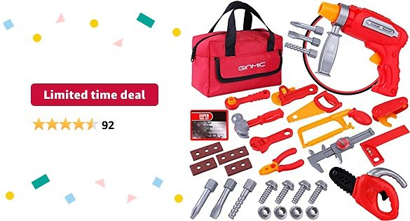 Limited-time Deal: GINMIC Kids Tool Set, Pretend Play Toddlers Tool Toys 32PC with Drill and Tool Handbag, Realistic Construction Tool Toy with Chainsaw, Preschool Toy Gift for 3 Year Old and Up Boys & Girls