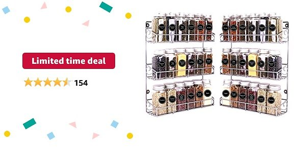 Limited-time Deal: SWOMMOLY 2 Pack Wall Mount Spice Racks, 3-Tier Storage Shelf Organizer, Silver, Medium