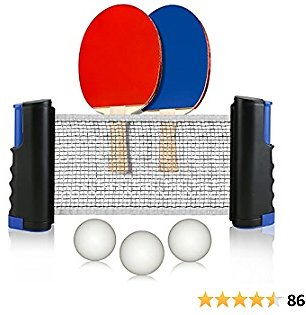 Retractable Table Tennis Net and Post Set for Any Table, 2 Ping Pong Paddles and 3 Balls,Includes Convenient Portable Drawstring Bag, Play Almost Anywhere for Kids,Adult