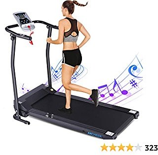ANCHEER TR0809 Treadmill, Folding Treadmills for Home, Running Machine with LCD Monitor, Electric Treadmill Pulse Grip and Safety Key, Jogging Walking Exercise Running Machine for Family/Apartment/Office Workout