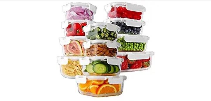 Get Bayco 24-Piece Glass Food Storage Containers with Lids, Glass Meal Prep Containers, Airtight Glass Lunch Bento Boxes, BPA Fr