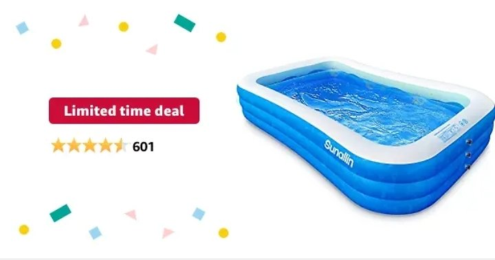 Get Sunallin 118 X 72 X 22 Inches Full-Sized Inflatable Swimming Pool from Amazon.com