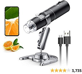 Wireless Digital Microscope, Skybasic 50X-1000X Magnification WiFi Portable Handheld Microscopes with Adjustable Stand HD USB Microscope Camera Compatible with IPhone Android IPad Windows Mac Computer