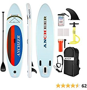 ANCHEER Inflatable Stand Up Paddle Board with Premium Sup Accessories & Carry Bag, Adjustable Paddle, Coil Leash, Hand Pump for Youth Adults