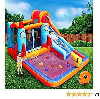 MEIOUKA Kids Inflatable Bounce House with Blower Water Slides Pool Splash Water Gun Jumping Bouncing Rocket Kid Inflatable Water Slide Bounce Houses Castle for Kids Toddlers Outdoor Jump Bouncy Houses