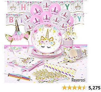 Rovercci Unicorn Party Supplies Set & Tableware Kit, Birthday Decorations Bunting, Disposable Paper Plates, Cups, Napkins, Straws, Plastic Table Cloth, & Balloons, Bracelet, Head Band - Serves 16