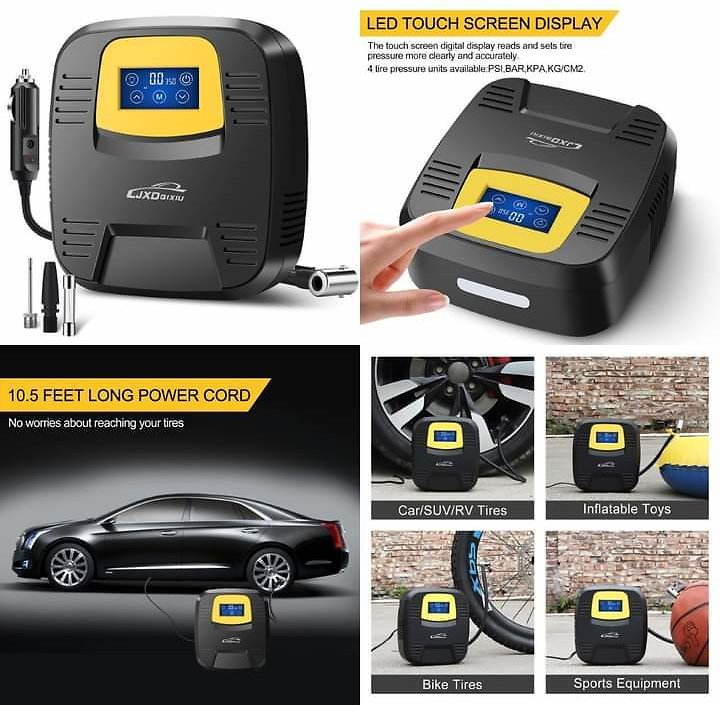 Auto Air Pump - Digital Pressure Gauge, Touchscreen and Emergency LED Light 🔥 from Amazon.