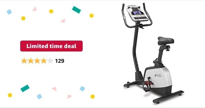 Circuit Fitness Magnetic Upright Exercise Bike with 15 Workout Presets, 300 Lbs Capacity from Amazon.com