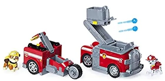 PAW Patrol, Marshall Split-Second 2-in-1 Transforming Fire Truck Vehicle with 2 Collectible Figures
