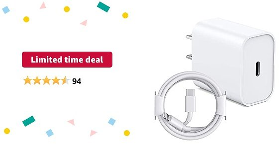 Limited-time Deal: IPhone Fast Charger, 20W PD Fast Charger Type C Power Wall Charger Block With【Apple MFi Certified】 6FT USB C to Lightning Cable Compatible IPhone 12/12 Mini/12 Pro Max/11 Pro/Xs/XR/iPad AirPods Pro