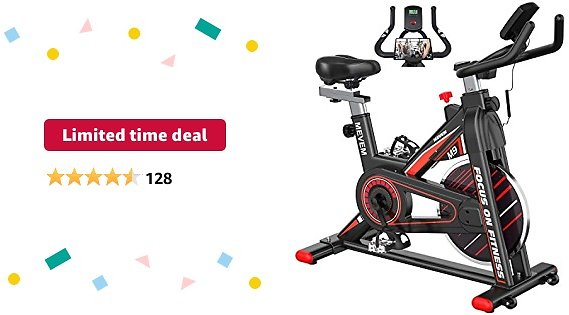 Limited-time Deal: Exercise Bike [2021 Upgraded] MEVEM Stationary Bike, Indoor Cycling Bike with LCD Monitor and Heart Rate Sensor for Home Workout
