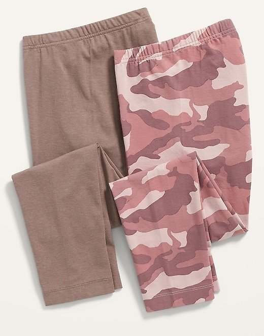High-Waisted Cropped Leggings 2-Pack for Women (Pink Only)