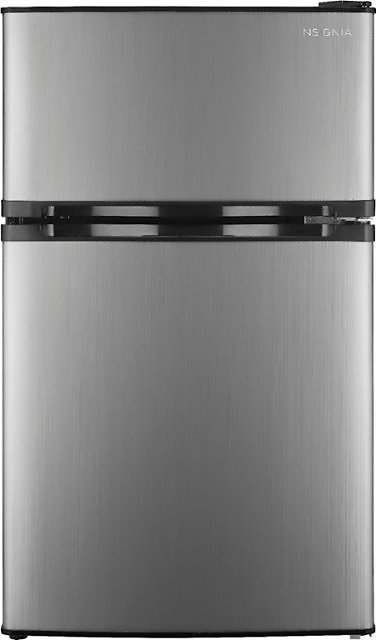 Insignia™ 3.0 Cu. Ft. Mini Fridge with Top Freezer Stainless Steel NS-CF30SS9