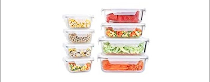 8-Pack Fresh Friend Glass Food Storage Containers with Lids Airtight BPA Free from Amazon.com