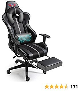 WQSLHX Gray Gaming Chair with Massage and Footrest, Swivel Reclinable Gamer Chair with Armrest, Height Adjustable Computer Chair, Racing Style Video Game Chair for Adults