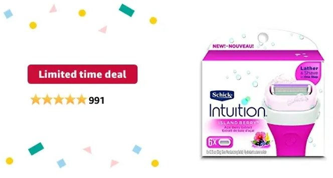 INTUITION Schick Island Women's Razor Blade Refills with Acai Berry Extract, 6 Count, Pack of 6