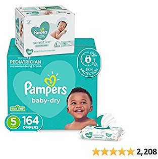 Diapers Size 5, 164 Count and Baby Wipes - Pampers Baby Dry Disposable Baby Diapers, ONE MONTH SUPPLY with Baby Wipes Sensitive 6X Pop-Top Packs, 336 Count (Packaging May Vary)