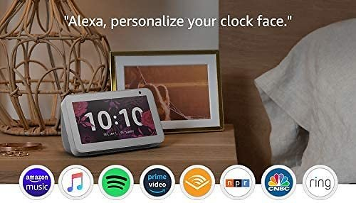 Echo Show 5 Charcoal with Blink Mini Indoor Smart Security Camera from Amazon.